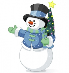 snowman with Christmas tree vector image