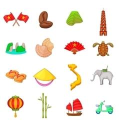 Vietnam travel icons set cartoon style vector