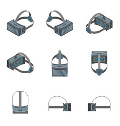 virtual reality headsets icons set 3d isometric vector image vector image