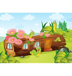 worms and wooden house vector image vector image