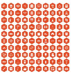 100 activity icons hexagon orange vector