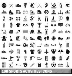 100 sports activities icons set simple style vector image vector image