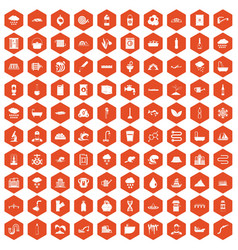 100 water supply icons hexagon orange vector