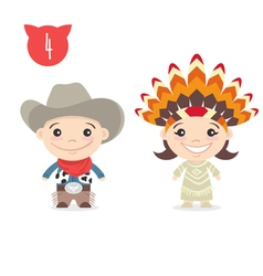 two happy cute kids characters Boy in cowboy vector image