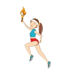 torch olimpic flame girl vector image
