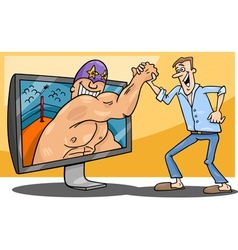 Cartoon man and interactive television vector