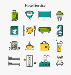 Hotel service linear icons vector
