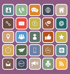 Contact us flat icons on purple background vector
