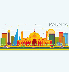 Manama skyline with color buildings and blue sky vector