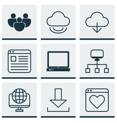 Set of 9 web icons includes save data team vector