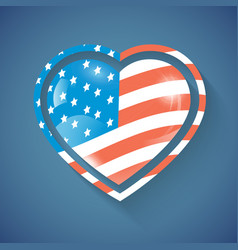 heart with usa flag vector image