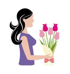 Mother woman flower bouquet celebration vector