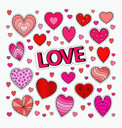 Love and romance set of hearts doodle vector