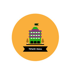 Stylish icon in color circle building town hall vector