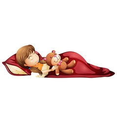 A young girl sleeping soundly with her toy vector image