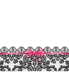 Pink bow on lace background vector