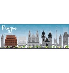 Prague skyline with grey landmarks vector