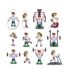 Icon set of fitness characters vector