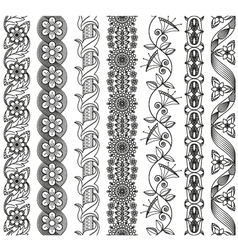 Set of floral elements for ethnic decor vector