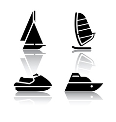 set of transport icons - boat and sailfish symbols vector image