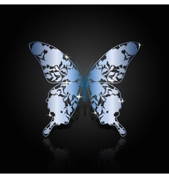Blue steel abstract butterfly on black background vector