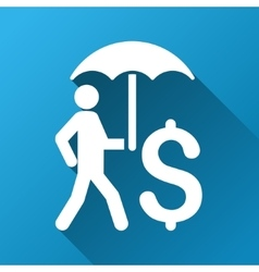 Walking businessman under umbrella gradient square vector