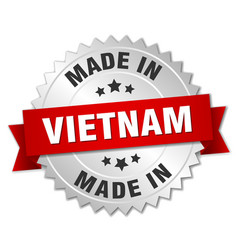 Made in vietnam silver badge with red ribbon vector