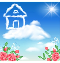Cloud house in the sky vector image