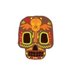 Traditional mexican painted scull icon vector