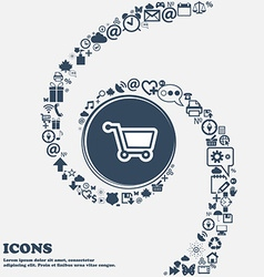 Shopping cart icon sign in the center around the vector