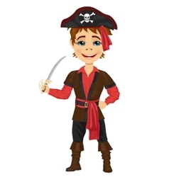 Cute kid in pirate costume holding a sword vector