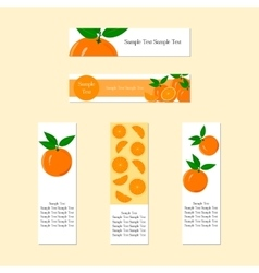 Banners with ripe juicy orange fruit vector
