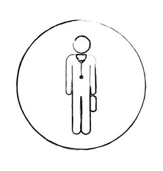 blurred circular frame silhouette pictogram male vector image