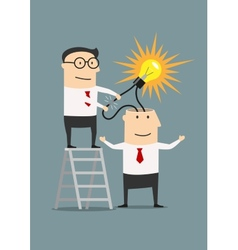 Businessman creating idea from other human head vector image vector image