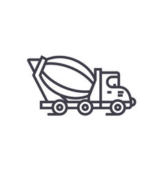 concrete mixer truck line icon sign vector image