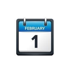 February 1 Calendar icon flat vector image vector image