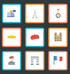 Flat icons unicycle archway tower and other vector