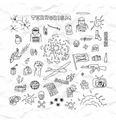 Freehand terrorism doodles on crumpled paper vector image vector image