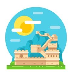 Great wall of china flat design vector