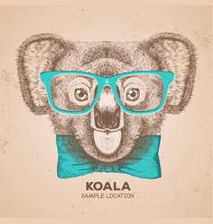 hipster animal koala hand drawing muzzle of koala vector image vector image