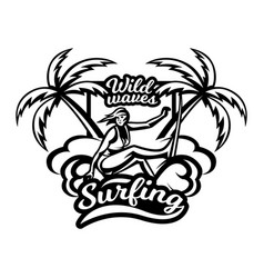 monochrome logo emblem girl surfer surfing on vector image vector image