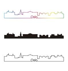 Oslo skyline linear style with rainbow vector image vector image