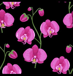 pink orchid branch embroidery seamless pattern vector image vector image