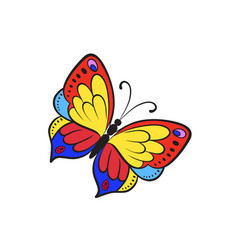 Pop art style butterfly sticker vector