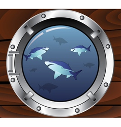 Porthole and sharks vector