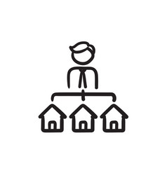Real estate agent with three houses sketch icon vector