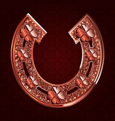 Red horseshoe on a dark background vector