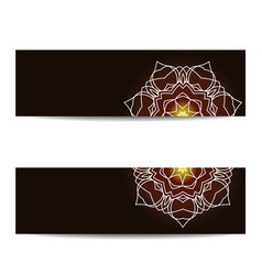 Set of empty banners with shiny floral mandala vector