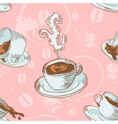 Steam coffee cups seamless pattern vector image vector image