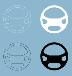 Steering wheel the black and white color icon vector